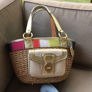 Coach large straw bag. Rare & colorful 🌈